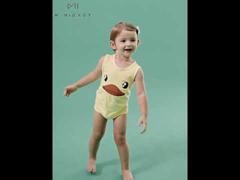 Летний детский комбинезон в виде животного без рукавов, боди для новорожденных м… видео