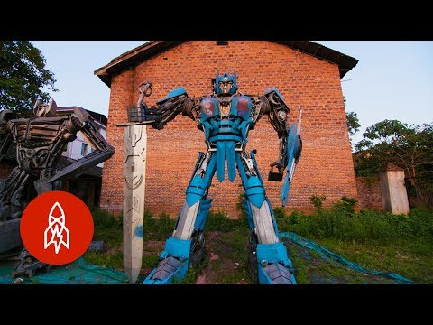 Father and Son Team Create Transformers from Trash