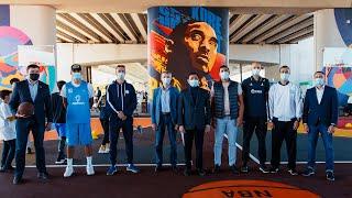 Мастер-класс игроков «Астаны» для детей на новой уличной баскетбольной площадке