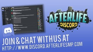 "AfterLife Discord: http://www.discord.afterlifesmp.comAfter a year of the AfterLife TeamSpeak going private, we figured it is best to open it back up again, except this, it is Discord! Lots of fun and neat things are going to happen on this Discord, so we hope to see you there!►AfterLife is a server started in late 2014 (Playable on December 21, 2014). It is a private (whitelisted) server. We aren't currently accepting applications. On occasion, we will hold special events where you will be able to apply to the server.►AfterLife Website: http://afterlifesmp.com/►AfterLife Hub Channel: http://tinyurl.com/AfterLifeSMP►AfterLife Discord: http://www.discord.afterlifesmp.com►Members:AllOutJay: http://www.alloutjay.afterlifesmp.comWhiteFyr: http://www.whitefyr.afterlifesmp.comBlondskunk: http://www.blondskunk.afterlifesmp.comKnightFox: http://www.knightfox.afterlifesmp.comBoom Bang Crash: http://www.boombangcrash.afterlifesmp.com►Channel Stuff:Please Leave A Like & Comment!Help Me Reach 5000 Subs - http://bit.ly/sub2jayMy Twitter - http://www.twitter.com/alloutjayMy Instagram - http://instagram.com/alloutjay/►I am sponsored by PickleHosting which has a variety of server packages for a great price! Use the code ""DOTJSON"" to get 25% off every month at http://www.pickle.afterlifesmp.com►Music:Dj Quads - Finding Happiness (Non-Copyrighted Music)https://www.youtube.com/watch?v=_fr3q3JUFfQhttps://soundcloud.com/aka-dj-quadsWritten Permission: http://archive.is/7mTmW &  http://archive.is/u3nyx"