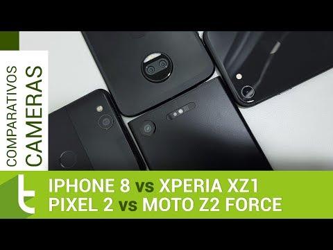 iPhone 8, Pixel 2, Moto Z2 Force e Xperia XZ1  Comparativo de câmeras do TudoCelular