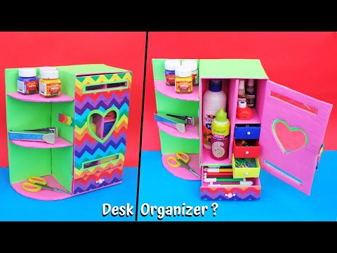 DIY Desk Organizer making with waste cardboards/Best out of waste/Space saving craft