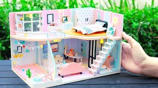 DIY Miniature Dollhouse Kit || Lily's Pink Diary ( With Full Furniture & Lights )