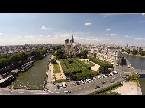 Drone footage of Notre Dame de Paris and Love Lock Bridge