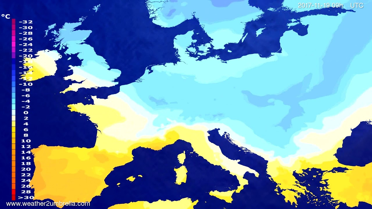 Temperature forecast Europe 2017-11-17