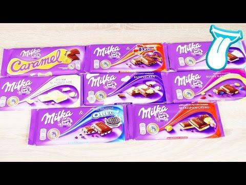 MEGA MILKA Schokolade Battle -  Süßigkeiten Test und tasten - Foodtest Deutsch - 8 Sorten verspeisen