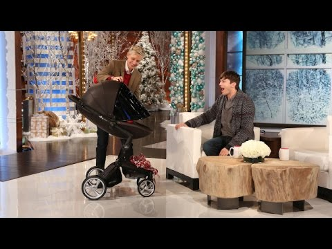 his - The actor told Ellen about being a new dad and how incredible Mila Kunis is as a mom! Plus, Ellen had a perfect gift for him.