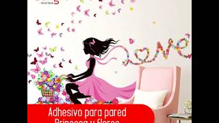 Adhesivo para pared - Princesa y flores