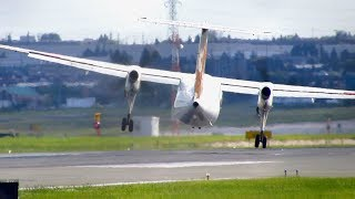 Planespotting at Toronto YYZ: Jazz Dash 8 Q100 [C-GJMI] INSANE CROSSWIND Landing at Toronto Pearson Intl. YYZ Airport. SUBSCRIBE for more Daily Aviation Vide...