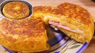 Tortilla de patatas estilo SANDWICH - tortilla española rellena de jamon y queso