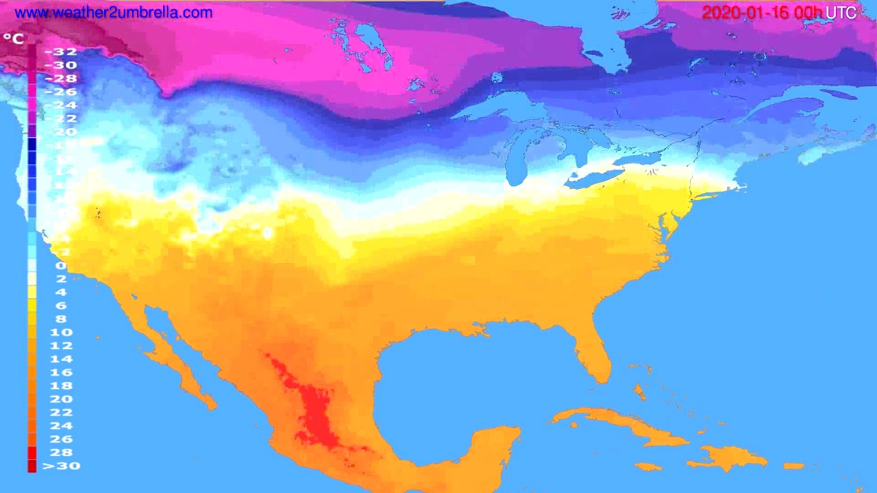 Temperature forecast USA & Canada // modelrun: 00h UTC 2020-01-15