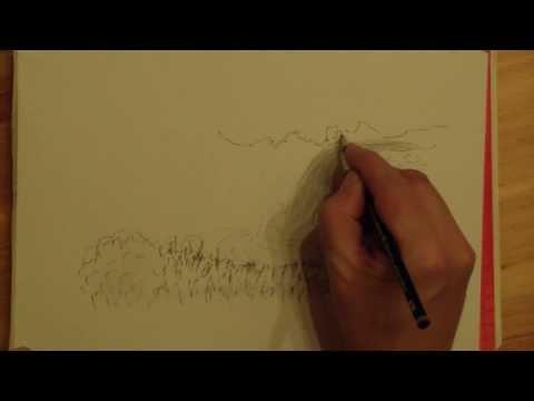 Zeichnen lernen: Einfacher Wasserfall – Learn to draw: Simple waterfall.