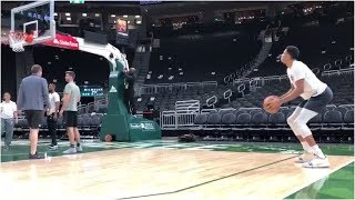 Giannis Antetokounmpo working on his 3 point and midd range shooting