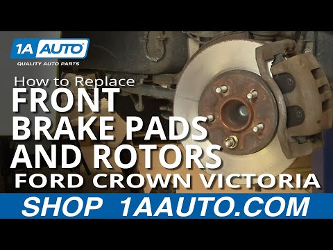 How To Install Replace Front Brake Pads Rotors Ford Crown Victoria Grand Marquis 03-05 1AAuto.com