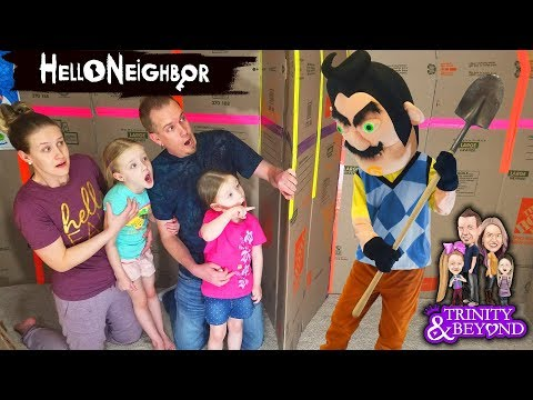 HELLO NEIGHBOR in Real Life in HUGE Box Fort Escape Room!!! Escaping Hello Neighbor! Part 4 (видео)