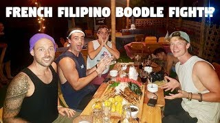 FIGHTER BOYS EATING FILIPINO SNACKS ON A RAINY DAY... (French Boodle Fight?)
