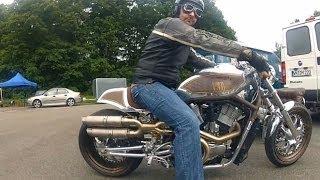 Linas France  city images : Harley Davidson V-Rod at Cafe Racer Festival Linas Montlhery France on board Go Pro Dr. Mechanik
