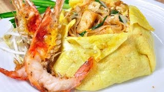 [Thai Food] Pad Thai Hor Khai Goong Yang (Pad Thai Wrap With Egg)