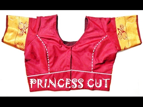Princess Cut Blouse Drafting, Cutting And Stitching With Waist Band