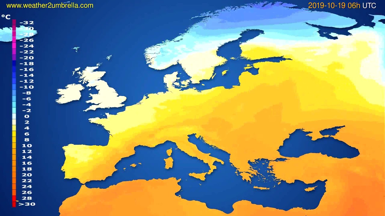 Temperature forecast Europe // modelrun: 12h UTC 2019-10-16