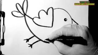 How to draw a twitter bird for kids easy and simple