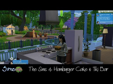 The Sims - CAUTION** May contain footage that you consider to be spoilers. The Hamburger Cake is part of the Up All Night Digital Pre-Order Content and the Tiki Bar is part of the Life of the Party...