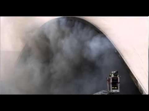 Brazilian Firefighters Fighting Major Fire At Oscar Niemeyer Building