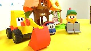 forklift lifty leo junior ve ekskavatör max  oyun parkında  çizgi film oyuncakları