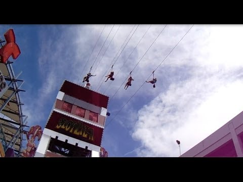 SlotZilla Zip Line Attraction at Fremont Street Experience, Las Vegas