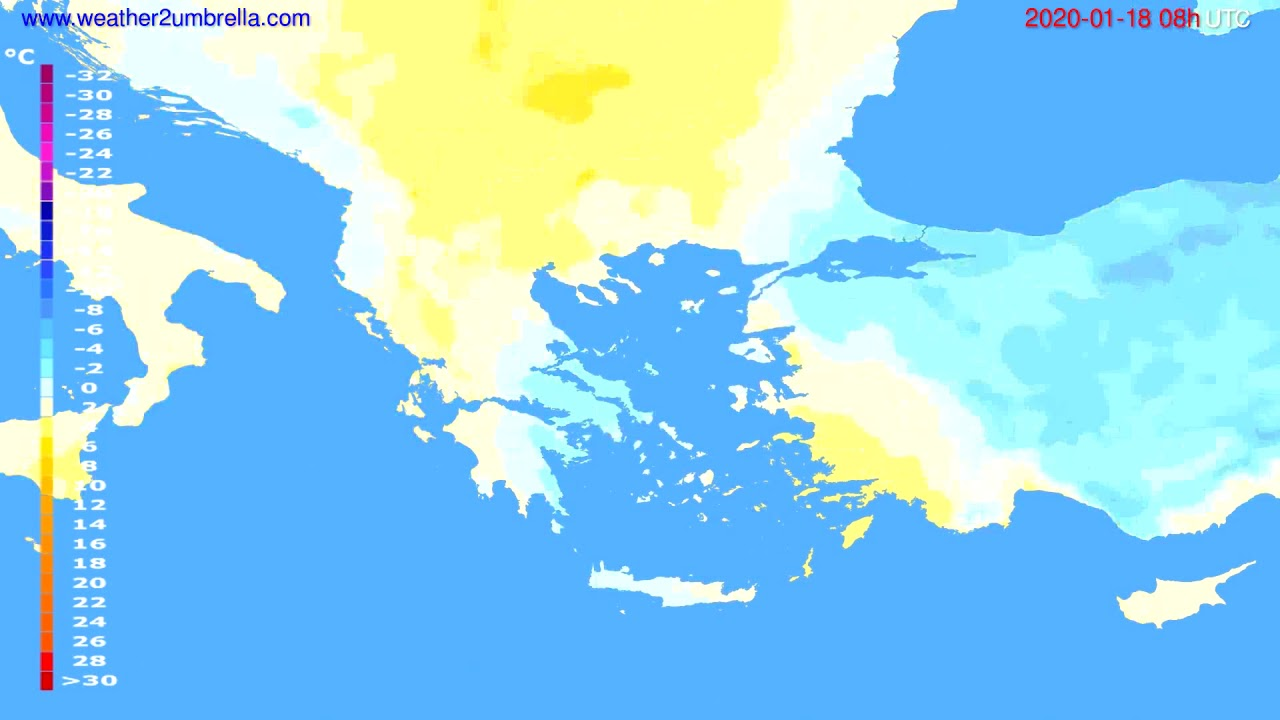 Temperature forecast Greece // modelrun: 12h UTC 2020-01-17