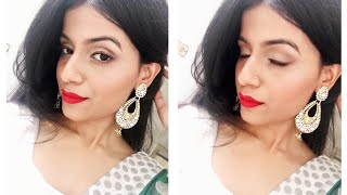 """Hey everyone! Today I'm doing this EID MAKEUP LOOK. This look is very easy to achieve and quick. I have used all drugstore products. This is a very wearable look, you can wear this look in festive season and also if you are going for a party. Hope you enjoy watching this video, if so hit the like button, comment down, share the video and do not forget to subscribe. God bless you all. EID MUBARAK 😊Products used - Colorbar primer Maybelline fit me liquid foundation - natural beige 220 Nicka k eyeshadow pallete Makeup revolution duo sculpt Revlon highlighter rose glow Lakmé absolute liner - brown shimmer Nyx soft matte lip creme- Monte Carlo Blush - maybelline cheeky glow - fresh coral Nail polish - maybelline color show blueberry ice & top coat - all that glitters*I am not a makeup artist, I just love doing it so I do it as per my knowledge*Giveaway rules -Like this and my last video Subscribe to my channelComment on this video Follow me on all my social media Thanks for your support and love ❤️Also there is going to be lot more giveaways on my channel so stay tuned.-~-~~-~~~-~~-~-Please watch: """"BEST DANDRUFF TREATMENT AT HOME  SEBORRHEIC DERMATITIS TREATMENT AT HOME 100% RESULTS IN ONE USE"""" https://www.youtube.com/watch?v=sncnTLnEUK4-~-~~-~~~-~~-~-"""