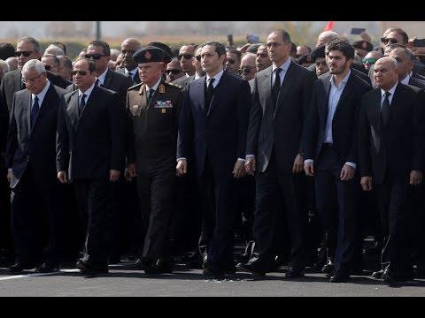 تشييع جنازة حسني مبارك بحضور السيسي