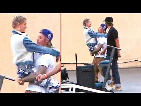 EXCLUSIVE - Justin Bieber And Hailey Baldwin Show Heavy PDA On DJ Khaled Music Video Set