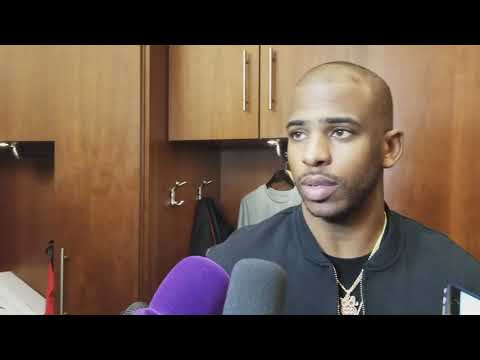 Chris Paul gives brief answers to media after win over Wolves