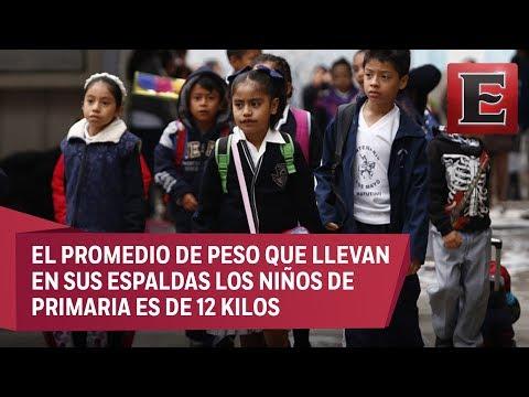 Peso ideal - Exceso de peso en mochilas provoca lesiones en niños, advierte el IMSS