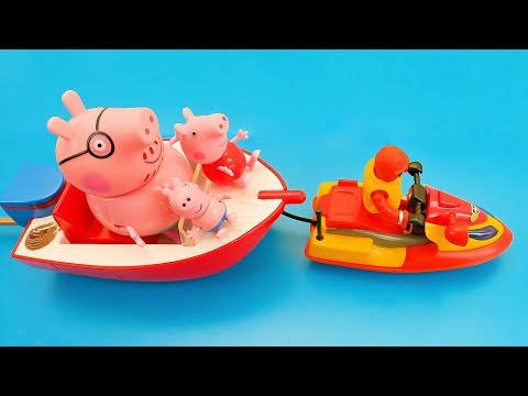 Fireman Sam saves Peppa Pig and Daddy Pig from Broken Boat - Peppa Toys