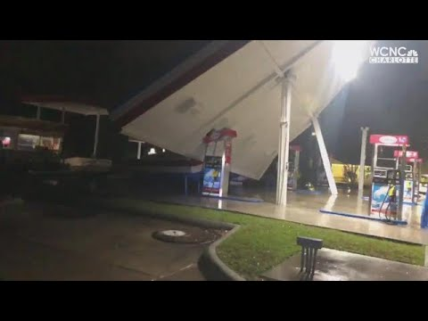 Hurricane Florence topples awning at gas station in Wilmington, NC