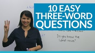 """""""What's the catch?"""" """"Care for another?"""" """"Have you met?"""" Improve your English conversation skills easily and quickly using these ten short questions. Once you start to use these in your speech, you will sound more like a native speaker, because they are all so commonly used. Since they are short, they are easy to learn too! We use these questions at home, at work, and in social situations. If you have been in an English speaking country or watch English television, you've probably already heard these questions, but you might not understand what they mean. I'll explain each expression, give you examples of how they are used, and let you practice them in a short exercise with me. I believe that by the end of this short video, you'll be able to use these standard questions yourself. Have fun learning these and good luck with your English learning!Take a quiz on this lesson: http://www.engvid.com/learn-10-easy-3-word-questions-in-english/If you're interested in another short and easy lesson, you can check out my video on 2-word expressions in English here: https://www.youtube.com/watch?v=wxDs7lrNVDYTRANSCRIPTHi. I'm Rebecca from engVid, and in this lesson you're going to learn 10 easy questions that you can use in all kinds of everyday situations. Now, they are really easy so they will not only help you to understand what people are saying, but you can also start to use them yourself. Why? Because all these questions have only three words. All right? And I think, and I know, and I believe that you can learn them. Okay? So let's look at what they are.Let's go. Number one: """"What's the matter?"""" Okay? If someone says: """"What's the matter?"""" it means: """"What's the problem? What's...? What's wrong?"""" Okay? Now, don't look on this side. This is not the answer, this is not the explanation. These we're going to use later when we do our quiz. So just listen to me to understand what the questions mean first of all. Okay? So: """"What's the matter?"""" means: """"What's the problem? What's wrong"""