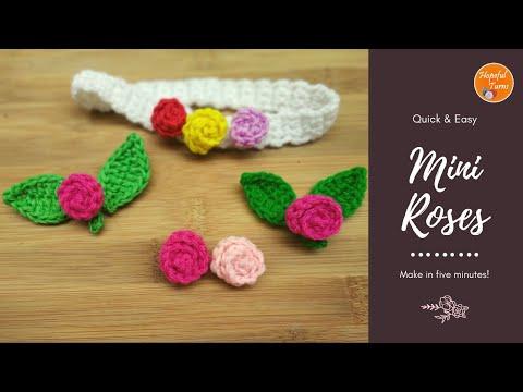 How to - Crochet Rose Flower | Quick & Easy Small Crochet Flower in Minutes/Mini Roses for Beginners
