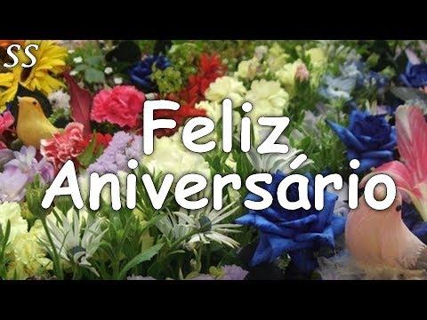 Msg de aniversário - Linda mensagem de aniversário com muitas flores coloridas! WhatsApp/Facebook