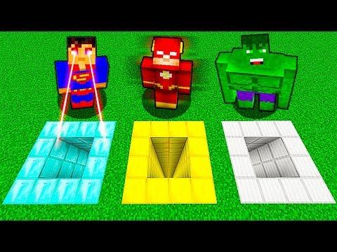 КАКУЮ ЯМУ ВЫБЕРЕТ СУПЕРГЕРОЙ В МАЙНКРАФТ Нубик против Супермен, Флеш и Халк в Minecraft Мультик