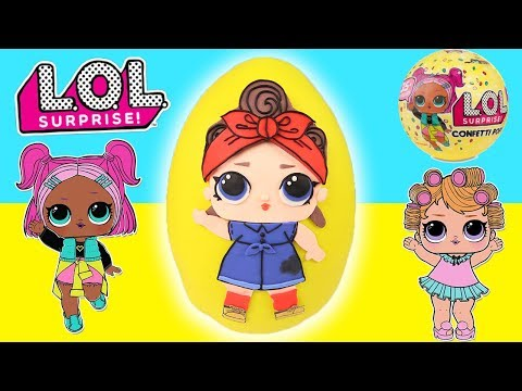 Play doh - LOL Surprise Doll Can Do Baby GIANT Playdoh Egg with Surprise Toys, Confetti Pop, Pikmi Pop