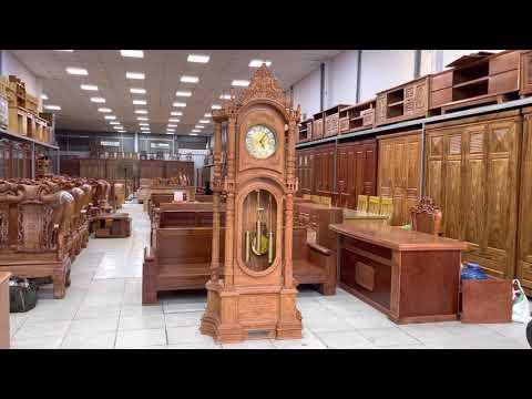 Đồng hồ cây gỗ Gõ Đỏ mâu tháp cao 2m3
