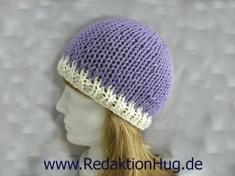 Knooking – Mütze von oben geknookt mit hatnut XL 55