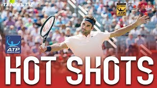 Roger Federer's unstoppable backhand is at it again as he fires a cross-court backhand shot past Robin Haase in Montreal.