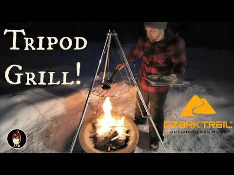 Ozark Trail Tripod Grill Assembly   Campfire Cooking   Build And Grill