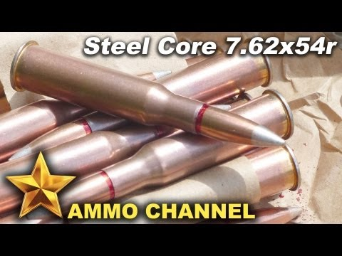 steel - Penetration tests of Steel Core 7.62x54r, a very common round manufactured in many countries. Light ball, containing a mild steel core. Typical velocities ar...