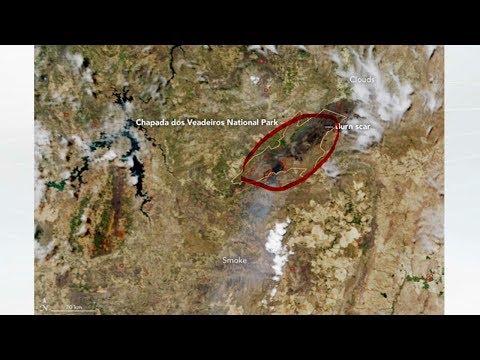 Imagens de calor - Imagem de satélite da Nasa mostra queimadas na Chapada dos Veadeiros (GO)