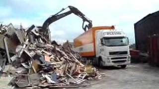 Widnes United Kingdom  city photo : Loading scrap wood at Widnes UK.