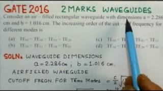 Video Solution to GATE ECE 2016 - Problem - Waveguides -Electromagnetics